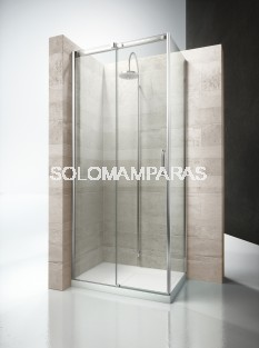 Angular ducha mampara Gliss DQ+DF - Vismara - 1fijo + 1 corredera + lateral fijo 8mm