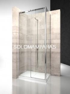 Angular de ducha mampara Serie 8000 CQ+CF - Vismara - 1fijo + 1 corredera + lateral fijo 8mm